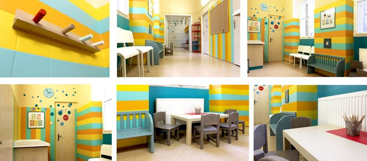 Project of the original and complex interior design and interior solution. Furniture and wall design creates modern space of waiting room for children in hospital. Created by Lucie Jirku (Studio CODECO).