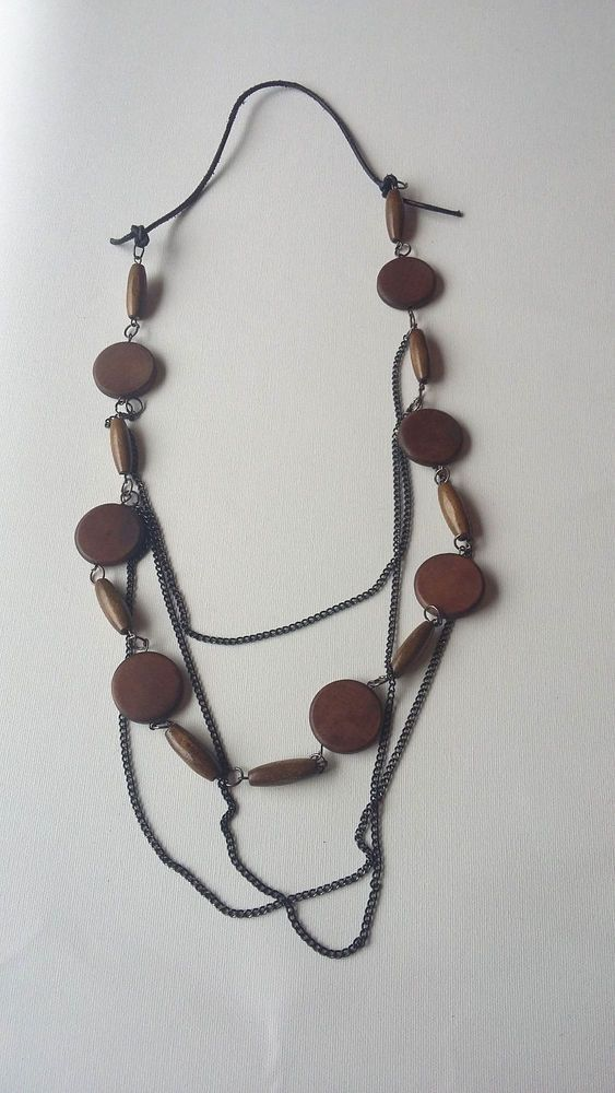 Necklace Finland Brown Wooden Beads Black Chain and Leather #Unbranded