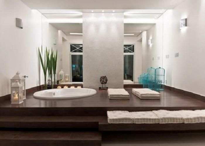 modern bathtub bathroom wood floors basement bathroom master bathroom