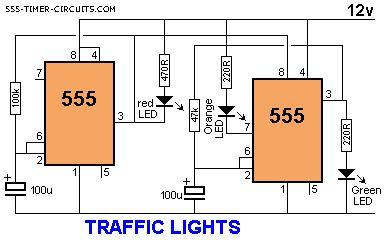 verkeerslichten (pin 2/6 iets meer naar boven trekken voor realistische tijd oranje. en pin 4 ook aan pin 8 ipv direct aan voeding (kan anders power van daar krijgen)