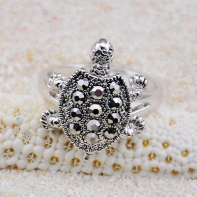 Just US$4.32, buy Diamante Turtle Embellished Alloy Ring online shopping at GearBest.com Mobile.