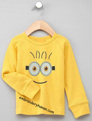 minion face 4x4 design machine embroidery Instant by swigating