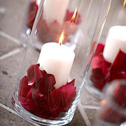 On a budget? Recreate this with Dollar Tree glasses, 3 inch candles and flower petals. For drama, put about 3 - 5 per table.