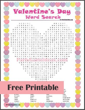 Free Valentine S Day Word Search Valentine S Day Party