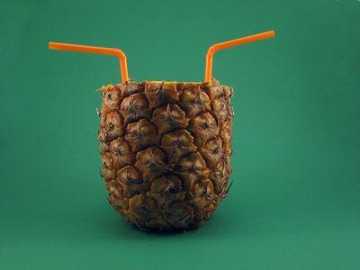 Drinking pinapple juice