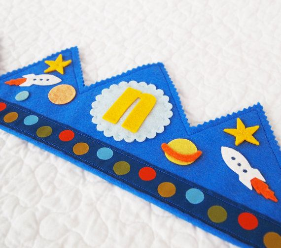 Personalized Felt Birthday Crown Outer Space Solar by mosey