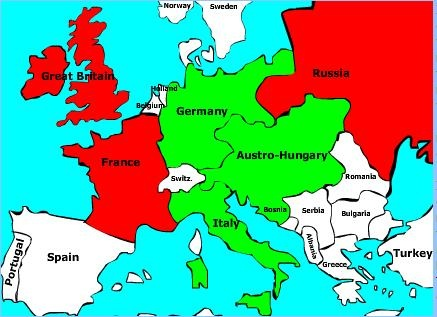 map of both opposing armies, the triple entente in the Red, and the triple alliance in Green.