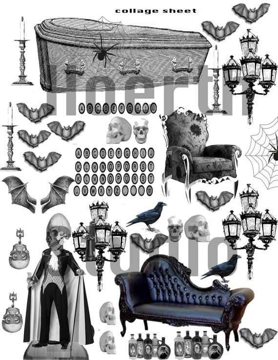 printable collage scrapbook  gothic Dracula collage sheet with coffin and haunting victorian furniture Clip art