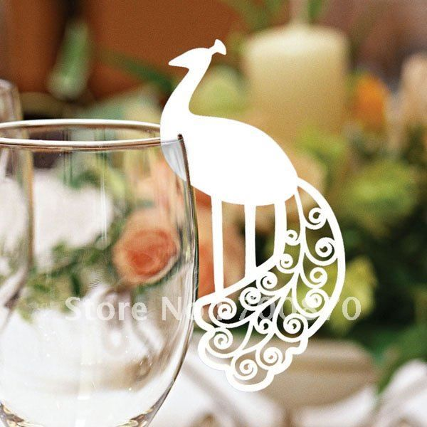 ec1108 23 12pcspack laser cutting peacock place card for wine glass card color