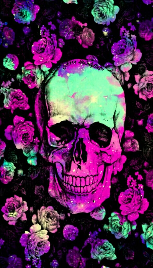 Flower Skull Portrait Iphone Android Galaxy Wallpaper Created By Hisonlygirl Skull Wallpaper Skull Artwork Galaxy Wallpaper