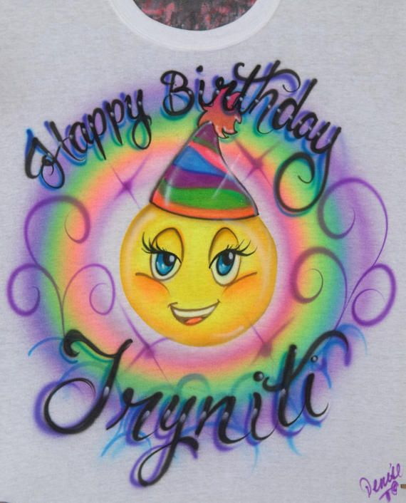 Smiling Emoji Girl With Lashes Happy Birthday Airbrush Design