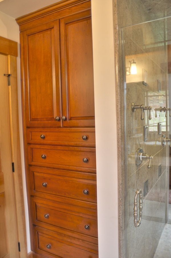 Cherry Wood Bathroom   Large Tall Cabinet With Drawers For Storage.