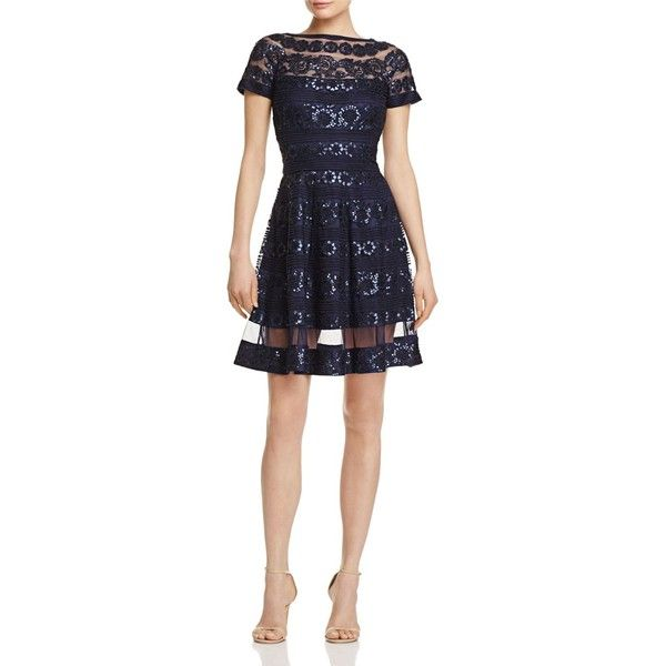 Tadashi Shoji Sequin Fit-and-Flare Dress (540 CAD) ❤ liked on Polyvore featuring dresses, navy, tadashi shoji cocktail dresses, navy fit and flare dress, tadashi shoji dresses, navy blue cocktail dresses and sequin embellished dress