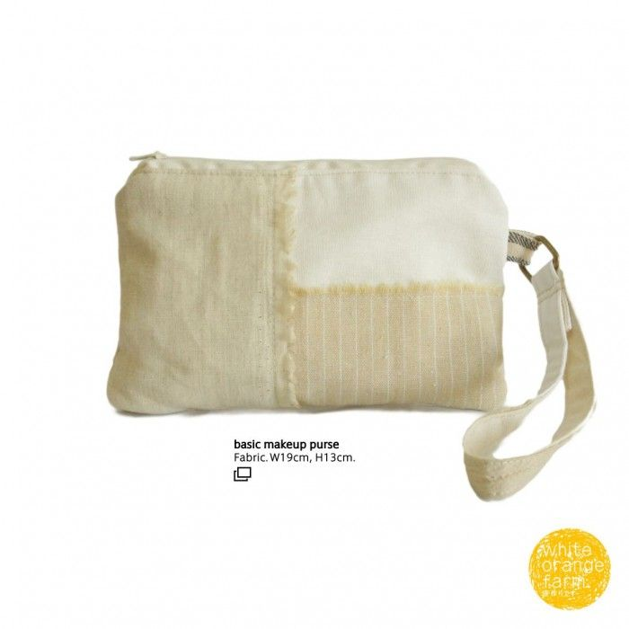 Basic Makeup Purse #whiteorangefarm #mosseash #handmade #handmadebag #cotton #canvas