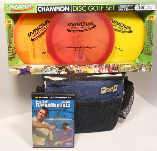 Innova Champion Disc Golf Gift Set - Blue Bag by Innova. Save 41 Off!. $54.95. The perfect disc golf gift set includes everything you'll need to get started playing the sport.  It includes an Innova Champion 3-Disc set including a driver, midrange, and putter, an Innova Starter disc golf bag, and an instructional DVD, Learn to Play the Champions' Way Volume 1: Disc Golf Fundamentals.  Take advantage of this money saving bundle.