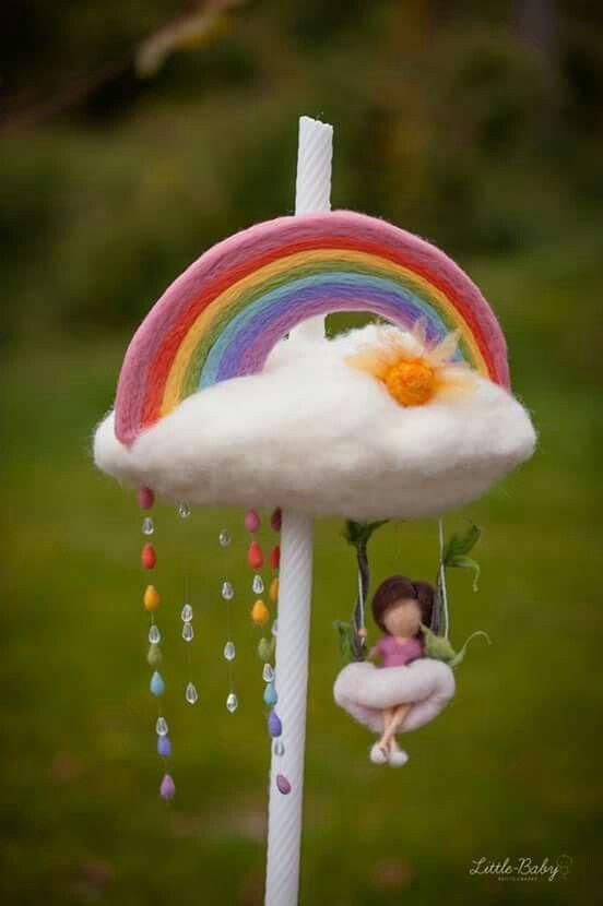 """lumanare botez """"ploaie de curcubeu"""""""