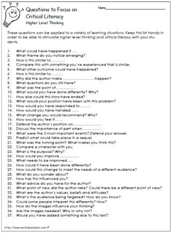 Really like these!!!!  Questions for Critical Literacy: Some types of questions promote critical literacy more than other types of questions. Questions to stimulate thinking are often higher level types of questions. This list of questions can be used for comprehension and general use. Keep as Reference.