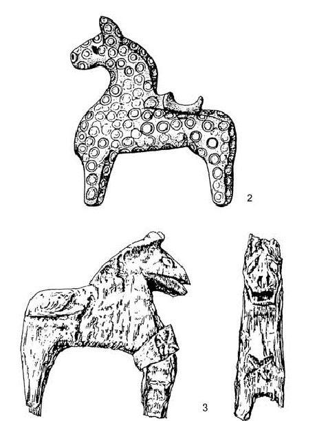 "Early medieval West Slavic horse sculptures, finds from Wolin, Poland (2 - bronze figure from 11th century) and Opole, Poland (3 - wooden figure from 10th century). Source: Sebastian Brather ""Archäologie der westlichen Slawen"", 2008 [online read]."
