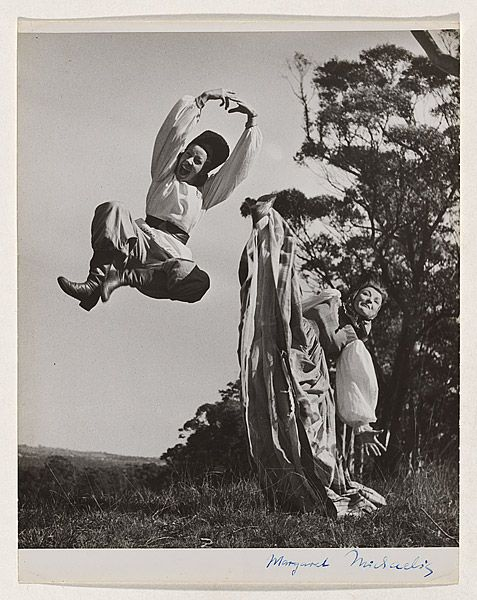 Margaret MICHAELIS Austria 1902 – Australia 1985 Movements: Australia from 1939 'Russian Duo' [Emmy Taussig and Shona Dunlop] [Russian dance - Bodenwieser ballet (Two women in Russian costumes, one leaping, one with leg raised)] c.1947 gelatin silver photograph image 23.7 h x 20.2 w cm Gift of the estate of Margaret Michaelis-Sachs 1986 Accession No: NGA 86.1384.222