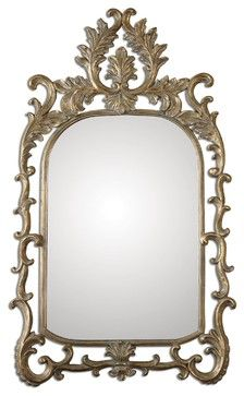 Old World Ornate Abelia Gold Arch Mirror mediterranean-wall-mirrors