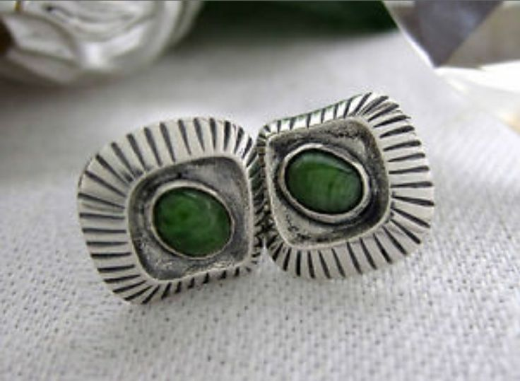 Heikki Kaksonen for Kalevala Koru, Vintage silver and green gemstone earrings, 1952.