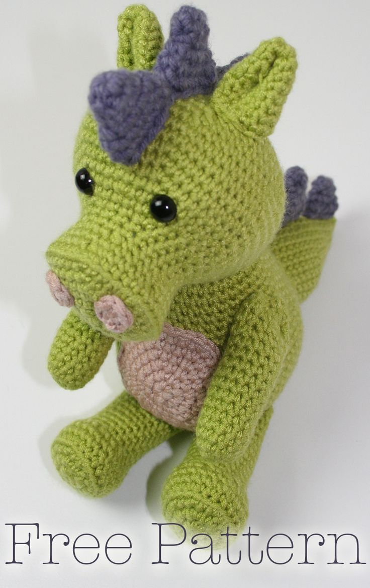 Free Crochet Dragon Pattern. How to crochet your own baby dragon toy.
