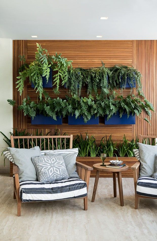 Outdoor living inspiration/ pillows, furniture, living wall