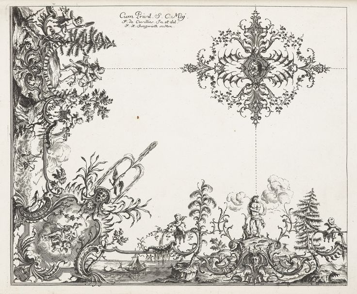 PRINT, CEILING DESIGN OF WATER MOTIF, 1740 Engraving on white laid paper. Purchased for the Museum by the Advisory Council. 1921-6-282-12