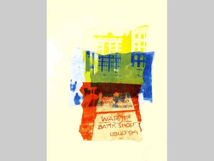 monotype print art & T-shirt art design: Manhattan 1. + Indonesian wall text - for sale