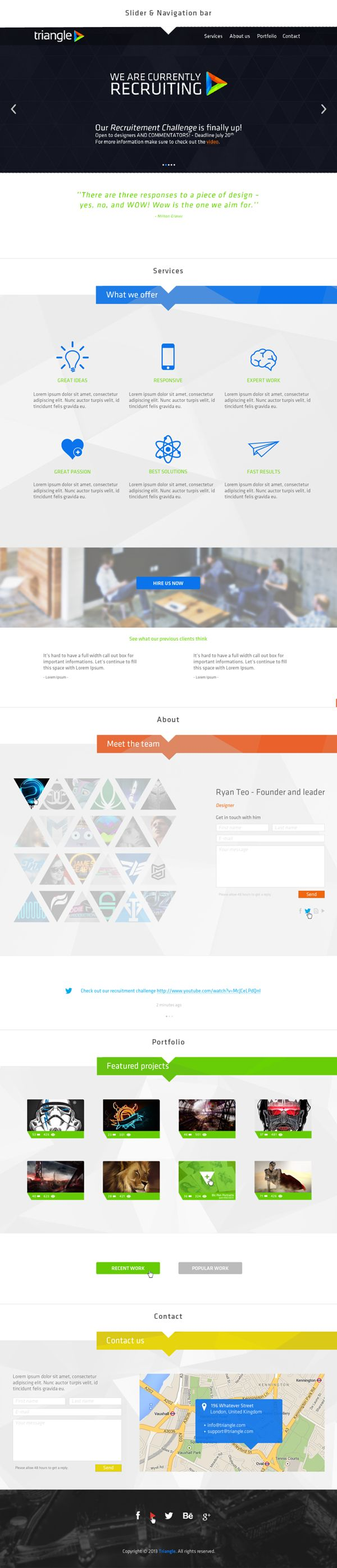One Page Website Concept | Triangle by Miguel Da Silva, via Behance