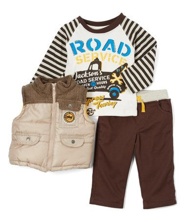 Another great find on #zulily! Beige Zip-Up Vest Set - Infant #zulilyfinds