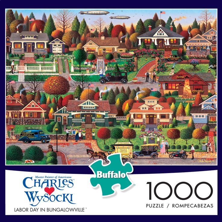 "1000 piecesMade by Buffalo GamesCompleted puzzle measures 26.75"" x 19.75""Artist: Charles Wysocki"