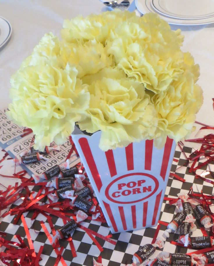 50s party popcorn centerpiece