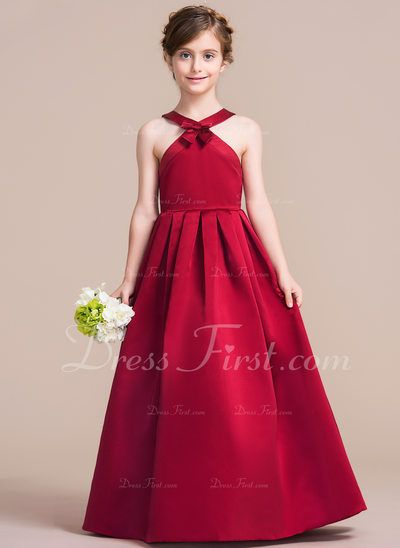 bc4b47c9f0fed5 A-Line/Princess Scoop Neck Floor-Length Satin Junior Bridesmaid Dress With  Bow(s) (009095084) - DressFirst