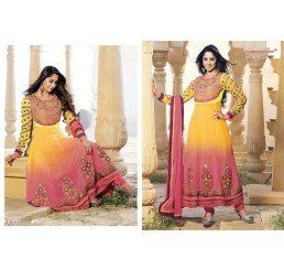 Buy Dinnar Georgette Yellow and Pink Semi Stitched Salwar Suit at Socrase.com