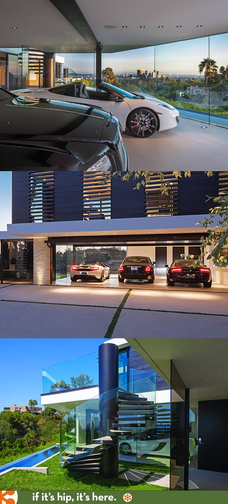 Glass-walled 3 car garage is part of the most amazing home you've ever seen.