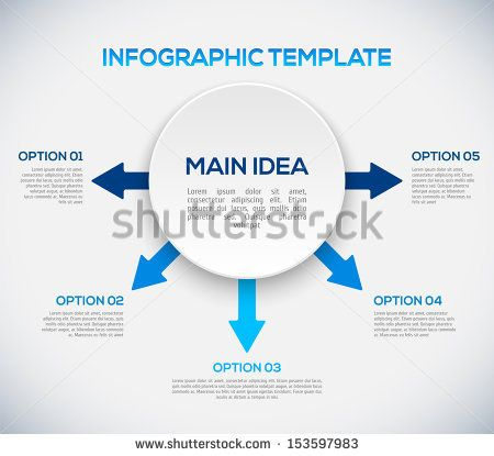 Infographics template with arrows and 3D circle. Different Way Infographics by Godruma, via Shutterstock