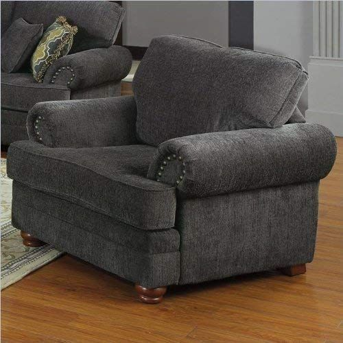 New Coaster Home Furnishings Colton Chair with Rolled Arms Smokey Grey. Living Room Furniture [$420]thechicfashionideas