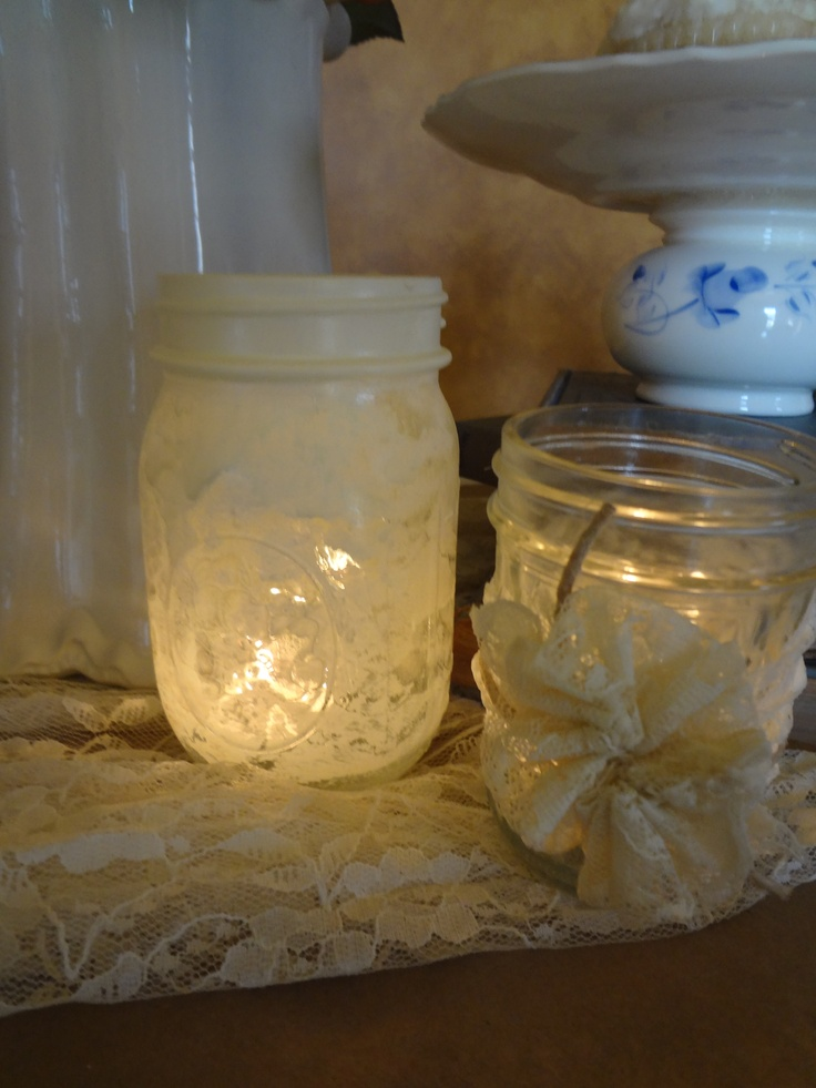 Lace Mason Jar Votive Home Decor Pinterest