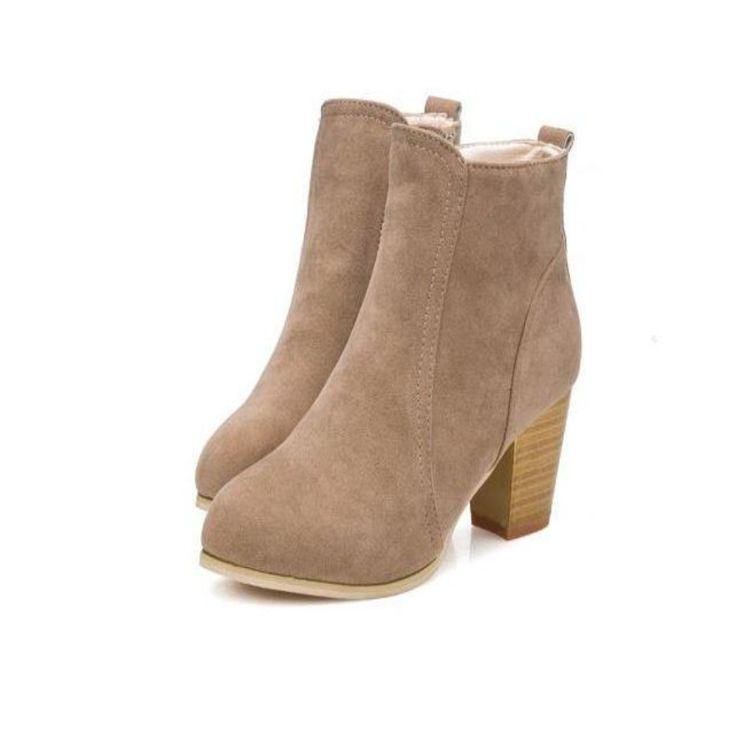 Women PU Heeled Cylinder Zip Boots