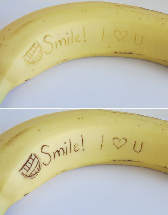 Secret banana message! Use a toothpick to carve the message and as the day goes…