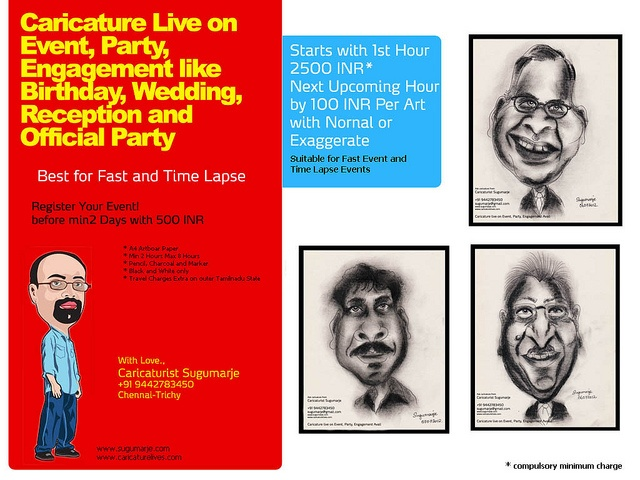 Caricature-Rates, rate-for-live-caricature, live-caricature,live-caricature-rates, caricaturist-sugumarje, caricature-artist-sugumarje, chennai-live-caricature-artist by sugumarje, via Flickr: Rate For Living Caricatures, Caricatures R, Caricature Collection, Caricature Artists Sugumarj, Caricatures Collection, Caricature R, Caricatures Artists Sugumarj