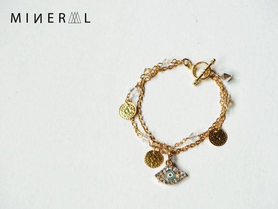 Bracelet oeil protecteur de couleur Or par MNRL sur Etsy