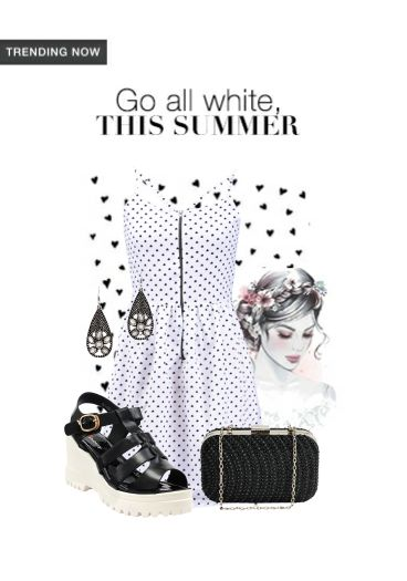 'Go all white this summer' by me on Limeroad featuring White Dresses, Black Clutches with Black Sandals