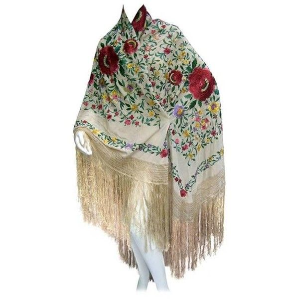 Preowned 1920s Exotic Silk Floral Embroidered Piano Shawl (£705) ❤ liked on Polyvore featuring accessories, scarves, brown, brown scarves, silk shawl, silk scarves, pure silk scarves and brown shawl