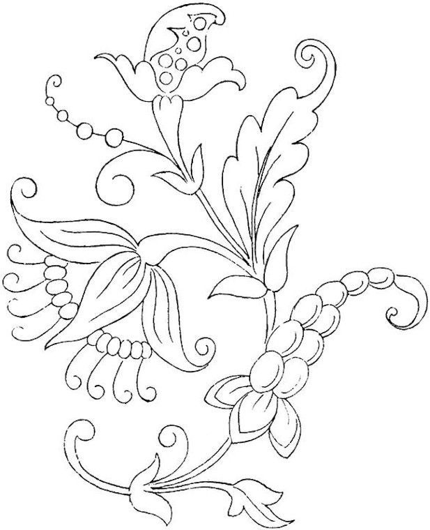 Flower Coloring Page would make a beautiful appliqué block