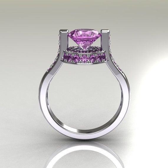 Italian Bridal 10K White Gold 1.5 Carat Lilac Amethyst Wedding Ring AR119-10WGLAA