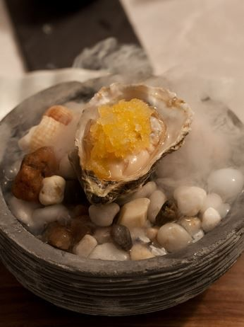 Asian citrus oyster from La Colombe  Fresh Saldanha oyster with kalamansi granité