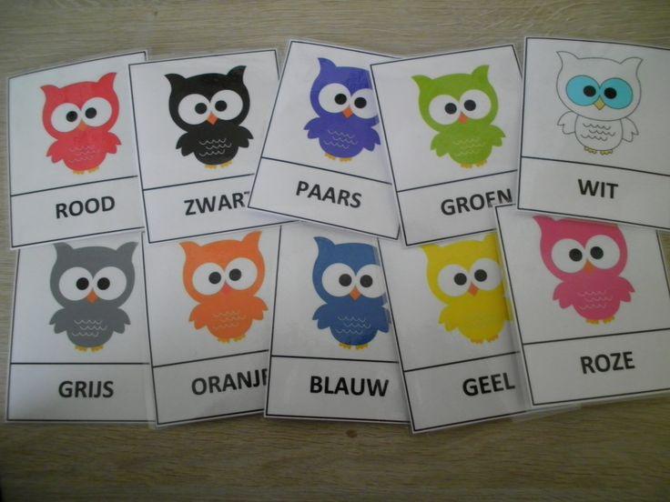 """Woordkaarten kleuren uilen: uitwerking van het boekje """"het witte uiltje"""" *liestr*"""