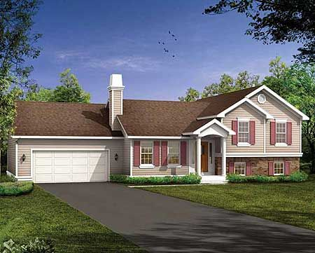 Plan W88148SH: Split Level House Plans & Home Designs